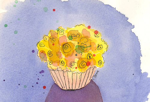 Målning av saffranscupcake version 2