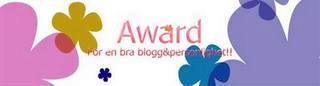 award för en bra blogg och personlighet