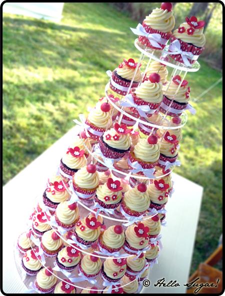 pias bröllopscupcakes i rött och vitt